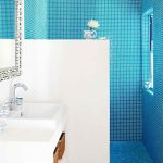 Bathroom, Blue Tiny Floor And Wall Tiles, White Vanity, White Wall, Wooden Layered, Grey Vanity Foor