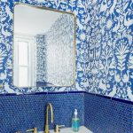 Bathroom, Blue Tiny Hexagonal Tiles On The Wall, Blue Patterned Wall, White Sconce, White Sink, Golden Sink