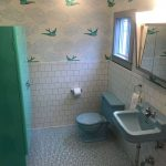 Bathroom, Grey Tiny Floor Tiles, White Square Wall Tiles, White Wallpaper With Green Birds, Green Shower Box, Blue Toilet, Blue Sink