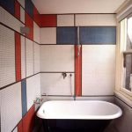 Bathroom, Tiny Tiles On The Wall And Floor, Red White Blue Tiles, Black Tub