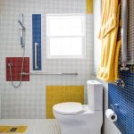 Bathroom, Tiny Tiles On The Wall And Floor, Red White Yellow Blue Tiles, White Toilet
