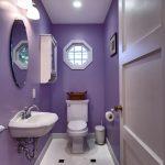 Bathroom, White Floor Tiles, Purple Wall, White Toilet, White Sink, Mirror, Sconce
