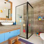 Bathroom, White Floor Tiles, White Wall Tiles, Floating Wooden Cabinet, Wooden Stair Stool, Pacman Sticker, House Shelves