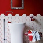 Bathroom, White Hexagonal Tiles, Red Wall, Whtie Sink, Silver Faucet