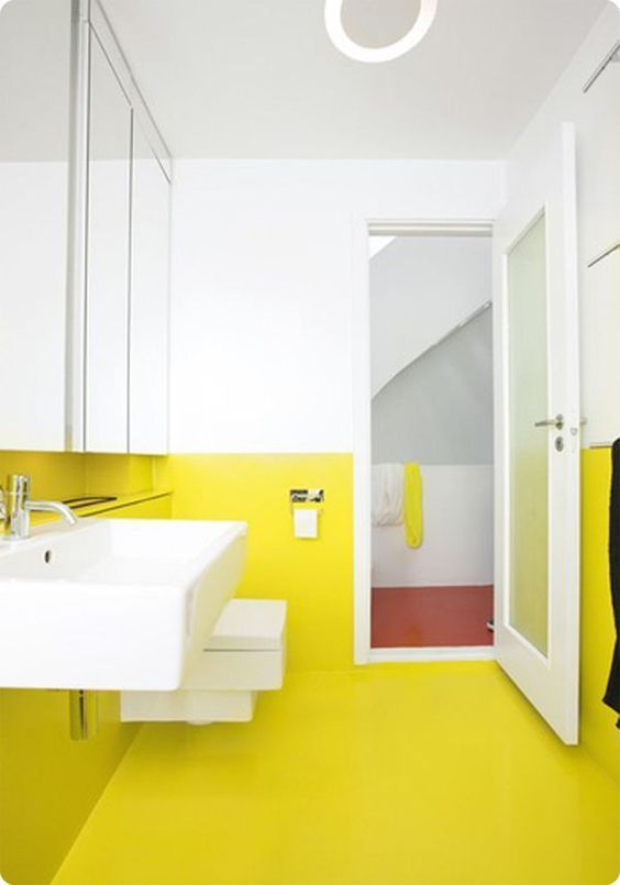 bathroom, white wall, lime wall and floor, white toilet, white sink, white toilet, mirror, white door