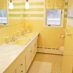 Bathroom, Yellow Floor Tiles, Yellow Wall Tiles, Green White Striped Wall, Yellow Sink, White Vanity