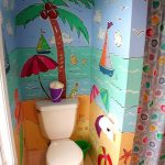 Beach Wallpaper Wall, White Toilet