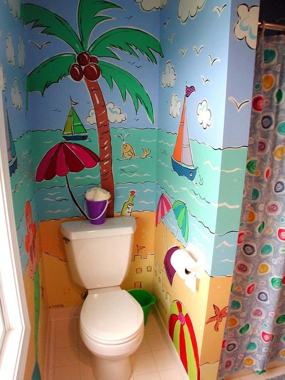 beach wallpaper wall, white toilet