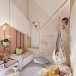 Bedroom, Grey Floor, White Wall, White Platform, Pink Cushion, Pendants, Swing, Grey Rug