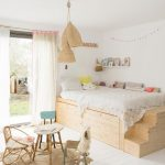 Bedroom, Light Wooden Floor, Wooden Platform With Storage Under, Stairs, Bed, Rattan Pendants, Small Study Table And Chairs