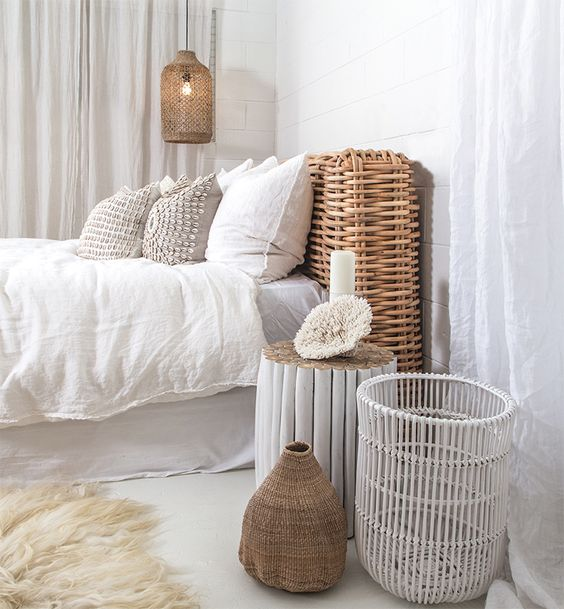 bedroom, white floor, rattan bed platform, white linen, white wall, rattan pendant,