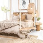 Bedroom, White Floor, Rattan Rug, Brown Linen, Wooden Bed Platform, Rattan Pendant, Wooden Side Table, White Wall, Wooden Swing