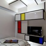 Bedroom, White Wall, Pop Art, Color Blocks, Black Lines, White Bed Platform, Floating Cabinet