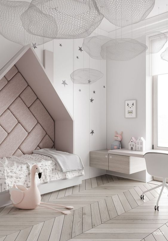 bedroom, white wooden floor, white wooden wall, wall nook with roof for bed, floating cabinet, floating study table, white chair