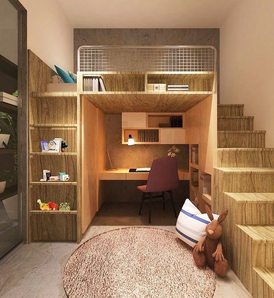 bedroom, wooden floor, brown wall, wooden stairs, study nook under the bed, built in shelves, brown round rug