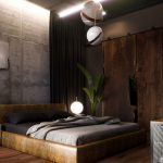 Bedroom, Wooden Floor, Leather Bed Platform, Grey Wall, Rustic Wooden Sliding Door, White Pendants,
