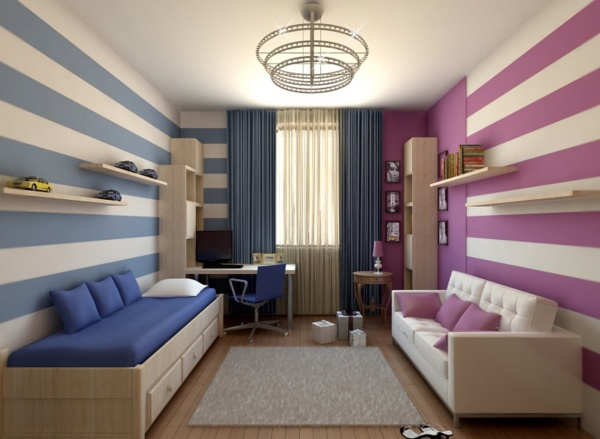 bedroom, wooden floor, white blue striped wall, purple white striped wall, blue curtain, bed platform with drawers, white sofa, grey rug, chandelier, floating shelves, shelves
