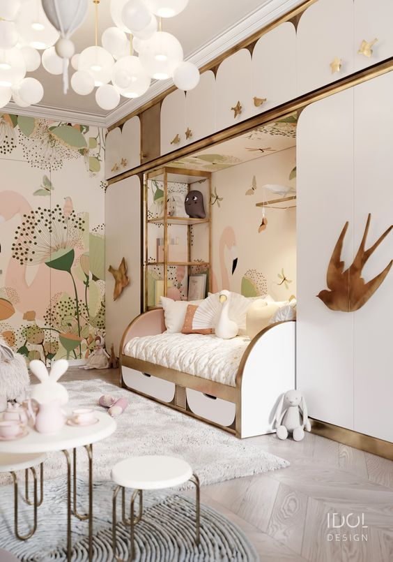 bedroom, wooden floor, white built in cupboard, wallpaper, white bulb, white sofa bed, white mini table chair