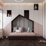 Bedroom, Wooden Floor, White Pink Built In Cupboard, Wall Nook, Wooden Bed With Pink Bedding,