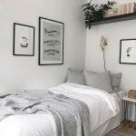 Bedroom, Wooden Floor, White Wall, Black Floating Shelves, White Side Table