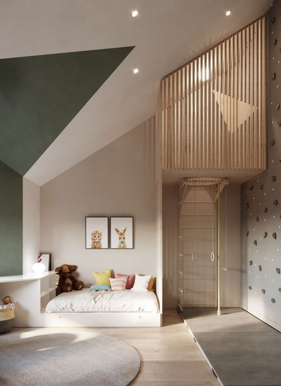 bedroom, wooden floor, white wall, white ceiling, green wall, upstair level with wooden grid fence, white built in bed platform with shelves