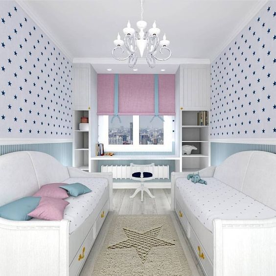 bedroom, wooden floor, white wallpaper, blue stars, white bed sofa platform with drawers, white chandelier, white shelves, white floating table, rug