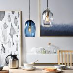 Blue And Clear Molten Glass Pendant, White Wall, Wooden Table, Wooden Chair