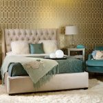 Chic Bed Sets Gold And White Wallpaper Tufted Headboard Glass Table Lamps Silver Nightstands Green Bedding Pillows White Shag Rug Green Armchair Shag Pillows
