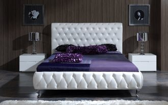 chic bed sets white bed white headboard white nightstands chrome table lamps brown wallpaper glass artwork deep purple bedding purple pillows white shag rug