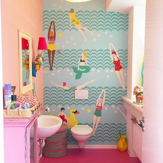 children toilet, pink wall, wallpaper accent, pink floor, white toilet, white sink