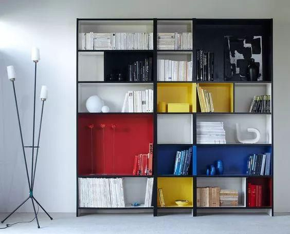 colorful shelves, white floor, white wall,