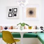Dining Nook, White Floor, White Bench, Green Cushion, White Table, Yellow Modern Chair, White Pendant