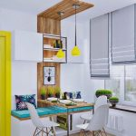 Dining Nook, Wooden Floor, White Bench With Shelf, White Wall, Floating Shelves, White Modern Chairs, Wooden Table, Window Bay