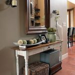 Entrance, Wooden Floor, Beige Wall, Wooden Framed Mirror, Wooden Console Table, Rattan Basket