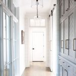 Hall Way, White Wall, Grey Cupboard, Wooden Floor, Glass Pendant