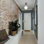 Hallway, Wooden Floor, Exposed Wall, Grey Wall, White Door, White Ball Pendant