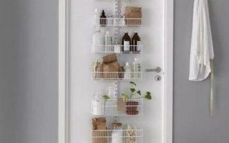 hooks like on the door, shelves on it