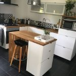 Kitchen, Black Floor Tiles, White Bottom Cabinet, Wooden Top, Kitchen Island White Drawers, Black Stool