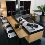 Kitchen Island, Black Floor, Black Top, Wooden Table, White Stool Chairs