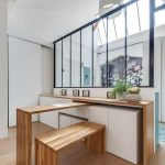Kitchen Island, White Cabinet Under The Wooden Frame, Wooden Sliding Table, Wooden Bench