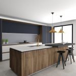 Kitchen Island, Wood Surface, White Top, Black Board, White Cabinet, Grey Backsplash Wall, Dark Grey Cupboard