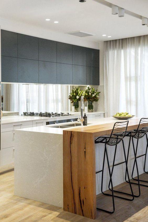 kitchen island, wooden floor, white top, wooden line board, black metal stools