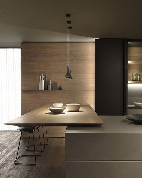 kitchen island, wooden island, grey table, wooden wall, pendants, black cupboard