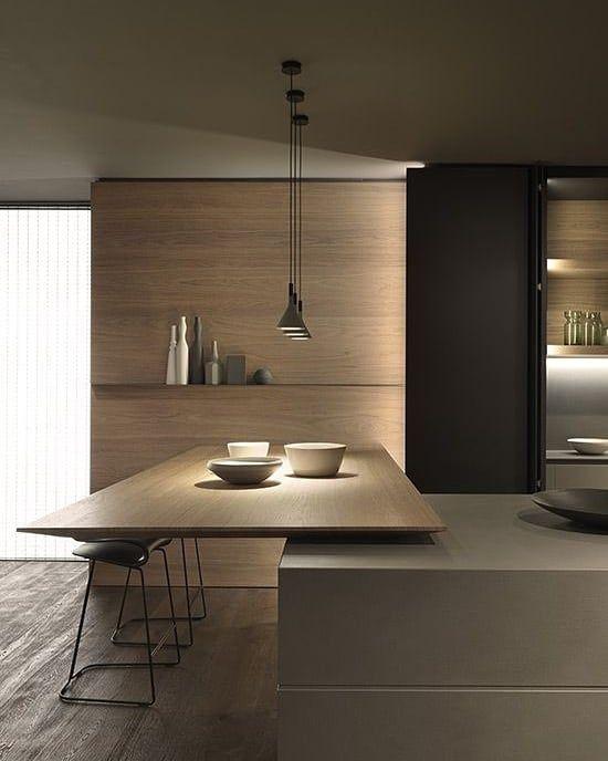 kitchen island, wooden island, grey table, wooden wall, pendants, black cupboard
