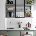 Kitchen, White Backsplash, Green Cabinet, White Kitchen Top, Green Floating Shelves