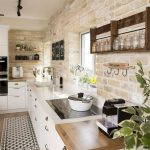 Kitchen, White Bottom Cabinet, Exposed Brick Wall, Wooden Floor