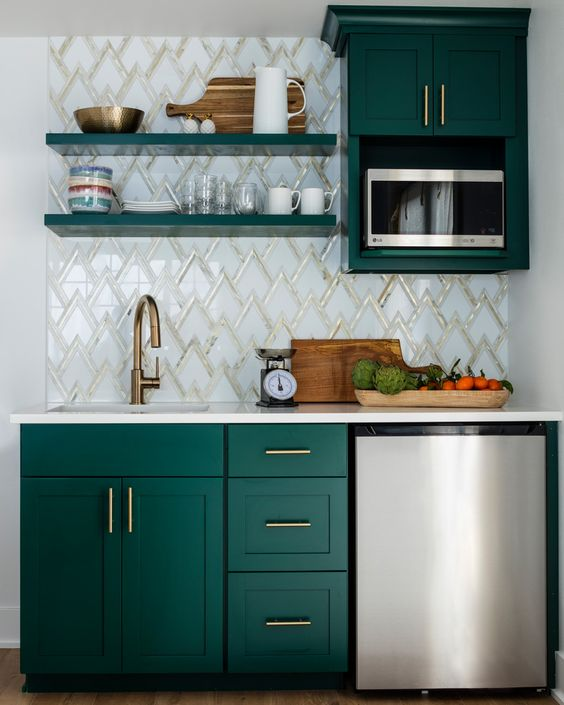 kitchen, white wall, green bottom cabinet, green upper cabinet, green open shelves