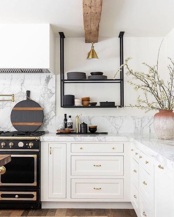 kitchen, white wall, white marble top, white bottom cabinet, wooden floor, black metal shelves