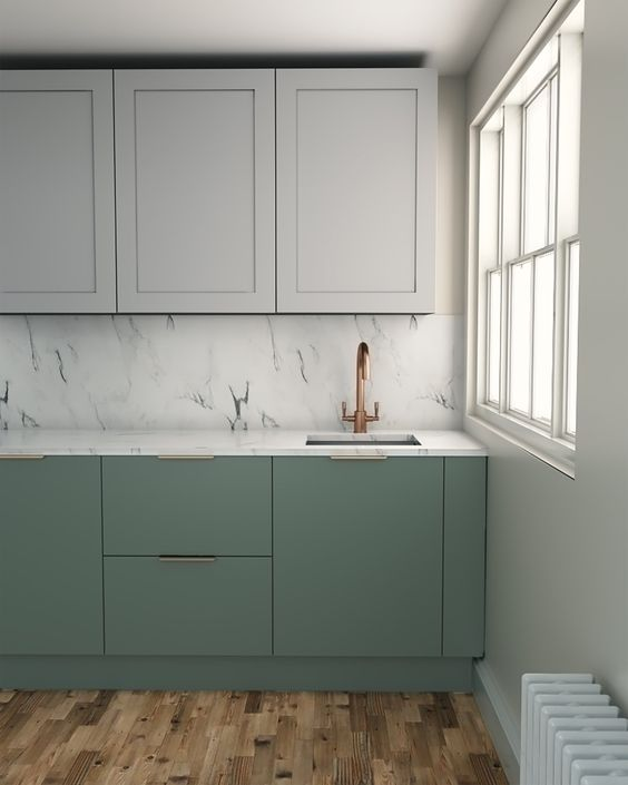 kitchen, wooden floor, light green bottom cabinet, white upper cabinet, white marble backsplash, white wall, white framed window