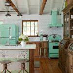 Kitchen, Wooden Floor, White Backsplash Wall Tiles, Wooden Cabinet, Bright Stark Green Stove And Fridge, Beam, White Ceiling